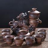lazy teapot - DIDIDD Stone Mill Semi-Automatic Lazy Tea Set Teapot Ceramic Tea Creative Kung Fu Tea Set Home Package,A