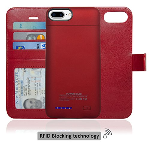 Navor RFID Folio Wallet Magnetic Detachable Power Battery Case 4200mAh for iPhone 7 Plus / 6 Plus / 8 Plus [5.5 Inch] - Red