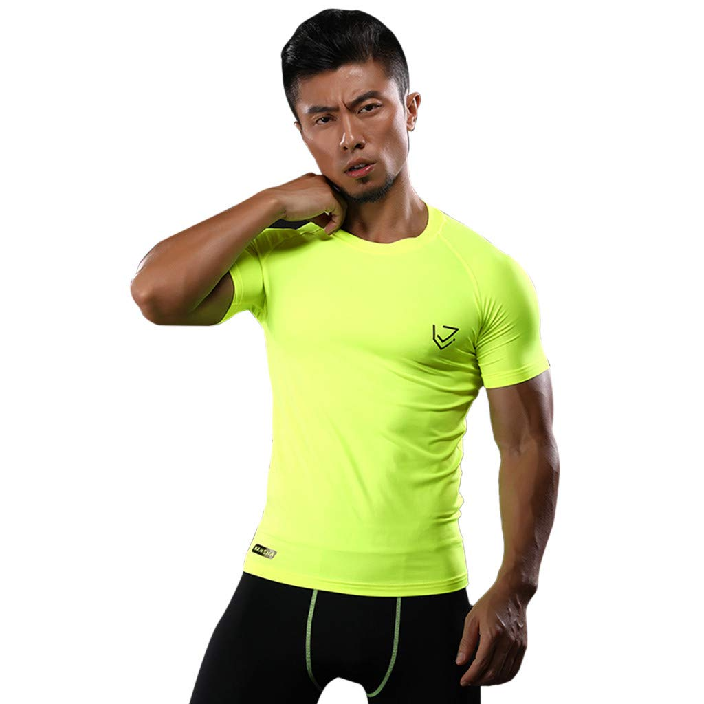 IAMUP Mens Fashion Compression Tops Solid Athletic Running Training Gym T-Shirts Dri fit Base Summer Jogging Layer