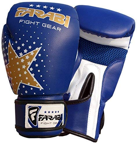 Farabi Kids Boxing Gloves 6-oz Blue Kick Boxing Muay Thai Training Junior 4-9 Years [並行輸入品] B07T548J92