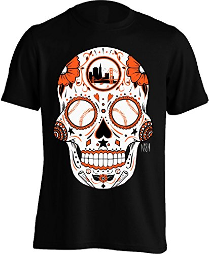 America's Finest Apparel San Francisco Baseball Sugar Skull - Men's (Large, - Francisco San Giants Shirt