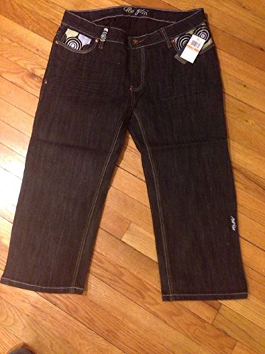 COOGI Black Indigo WASH Jean Capri Heavy Embroidered (C3J2813C) NWT $115 (20)