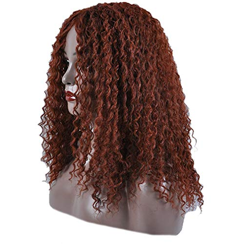 Search : MSBELLE Synthetic Hair Wigs Deep Wave Curly for Black African American Women Natural Color That Look Real 180% Density Brown