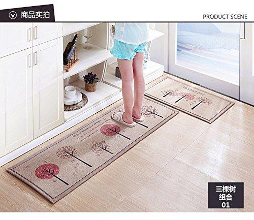 Doormat Non-Slip Kitchen Carpet/Bath Mat Home Entrance Floor Mat Hallway Area Rugs Kitchen Mat 50X80CM+50X160CM/Set (Tree) - Octagon Apple Red Stripes