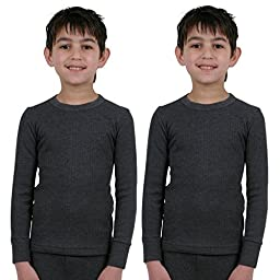 ETHO 2 Pack Childrens/Boys Thermal Long Sleeve Vest Charcoal 9/11 Yrs