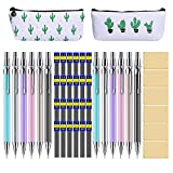44 Metal Mechanical Pencil Set, Muhuyi 12 Pieces Drafting Mechanical Pens and 24 Tubes Lead Refills with 6 Pack Erasers and 2 Pencil Case (0.5mm 0.7mm)