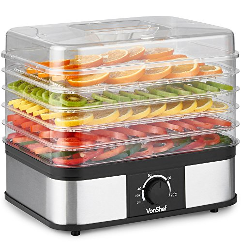 VonShef 5 Tier Food Dehydrator - Large Stainless Steel Food Dryer With...