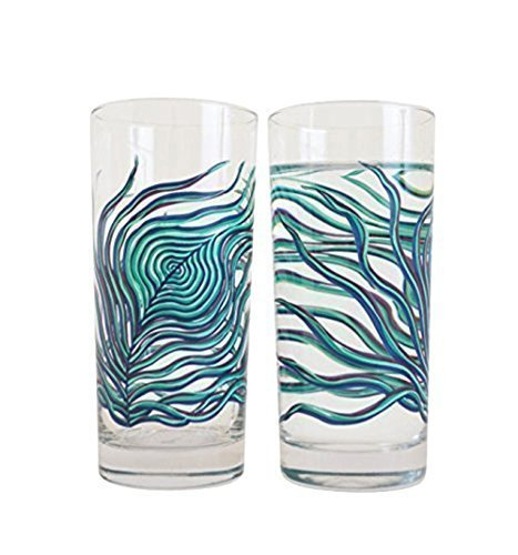 Peacock Feather Glassware - Set of 2 Peacock Glasses, Mother's Day, Gift for Her