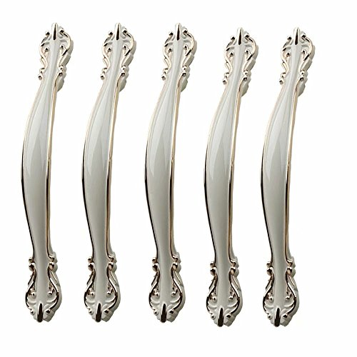FirstDecor 96mm Hole Centers,5 Pcs Zinc Alloy Kitchen Cabinet Door Handles and Pulls European Style Cabinet Knobs Dresser Handles Furniture Hardware with Screws.