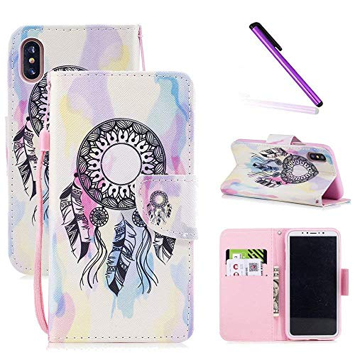 iPhone XR Case LEECOCO Fancy Printing Floral Wallet Case with Card/Cash Slots Wrist Strap [Kickstand] PU Leather Folio Flip Protective Case Cover for iPhone XR (6.1 inch) Ink Campanula HX ()