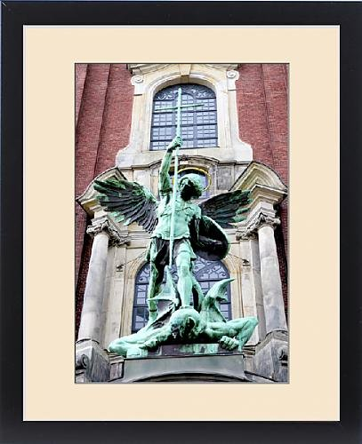 Framed Print of Sculpture of the archangel Michael defeating Satan, St Michaelis Church by Fine Art Storehouse