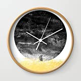Society6 Lilitz - Sunset Space Modern Minimal Black And White Abstract Art Decor Canvas Art For Dorm College Wall Clock Natural Frame, White Hands