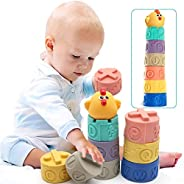 Soft & Colorful Stacking Blocks,Building Blocks for Toddlers – Teething Chewing Stacking Blocks,Educationa