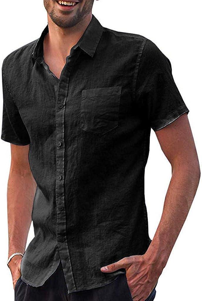 Mens Summer Linen Cotton V Neck Button Shirts Short Sleeve Casual Loose Tee Tops