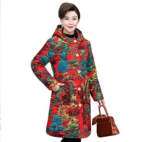Estilo 7 Largos Tamaño Retro Capucha Grande Bozevon Cálido Mujer Abrigos Impresión Con Chaqueta Bolsillos Invierno Para De xaBFHZ