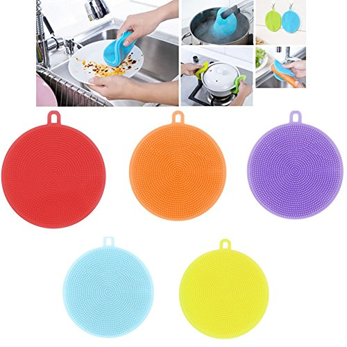 Landfox Silicone Dish Washing Scrubber Kitchen Cleaning antibacterial Tool,LF781# (5PCS)