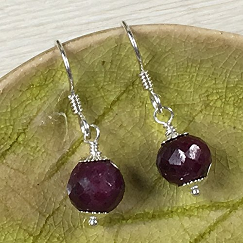 Ruby Corundum (JANECKA Natural Corundum Ruby Drop Earrings/July Birthstone)