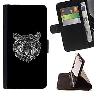 BullDog Case - FOR/LG G3 / - / bear black pencil sketch drawing art /- Monedero de cuero de la PU Llevar cubierta de la caja con el ID Credit Card Slots Flip funda de cuer