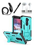 4 Items Combo For ZTE Zmax Pro Z981 Teal Blue Hybrid Dual Layer Case w/ Built in Kickstand + Car Charger + Free Stylus Pen + Free 3.5mm Earphone