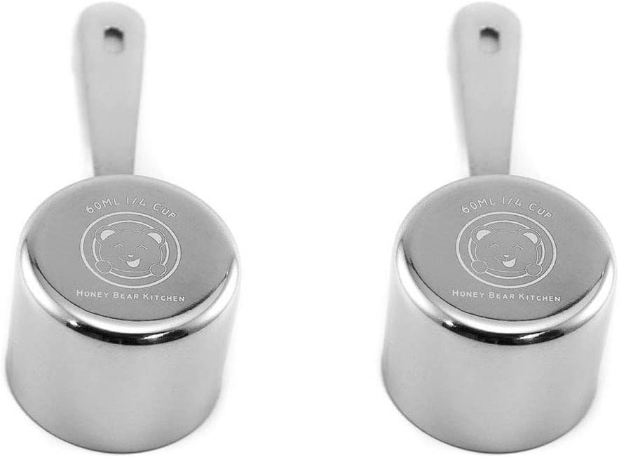 Honey Bear Kitchen 1/4 Cup 60 ml Leave-in Measuring Scoop Cups, Polished Stainless Steel (Set of 2)