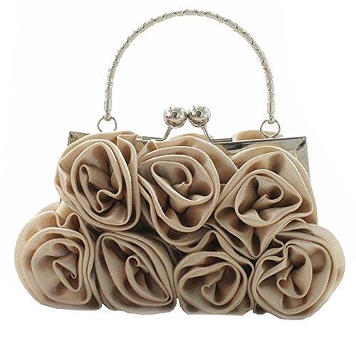 Color Evening Pure Satin Bags Wedding Black Voberry Handbag Handbags Party Beige Rose Women xYWIB