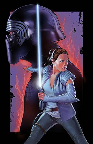 Rey and Kylo Ren The Last Jedi Poster Illustration, 11 x 17 inch Print, Sci Fi Movie Wall Art