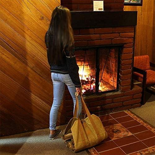 ホーム、キャンバスログトートバッグ、屋内暖炉ウッドトートバッグ、2色のオプションに適した薪フレーム (Color : Brown)
