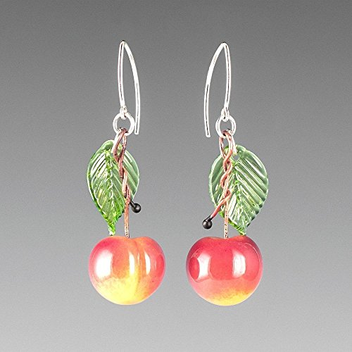 (Glass Yellow Cherry Earrings with Light Green Glass Leaves on Sterling Silver Marquise Wires)