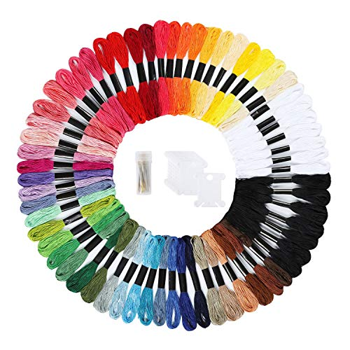 Peirich Embroidery Floss 62 Skeins Friendship Bracelets Floss with Black White Cross Stitch Floss Embroidery Thread, Embroidery Needles,12 Pieces Floss Bobbins