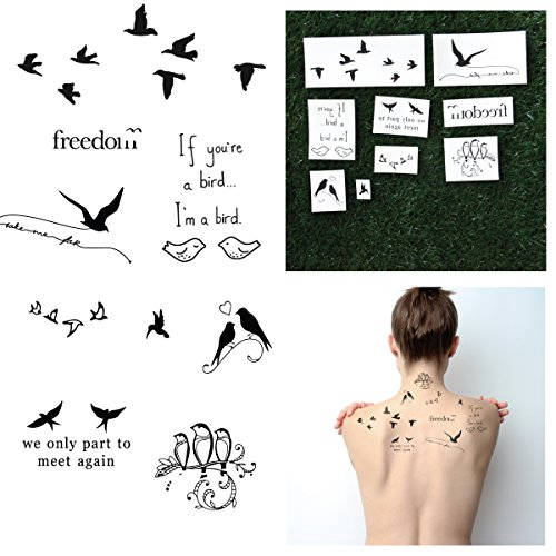 Tattify Quote Temporary Tattoos - Bird is the Word (Complete Set of 18 Tattoos - 2 of each Style) - Individual Styles Available - Fashionable Temporary Tattoos (The Best Sister Tattoos)