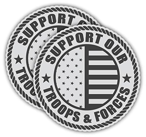 Sticker Frenzy Pair | REFLECTIVE Support Our Troops and Forces US Flag Hard Hat Decals | Motorcycle Shield Helmet Decals | Badge Labels | Toolbox Diesel Mechanic Shop Decals | 2