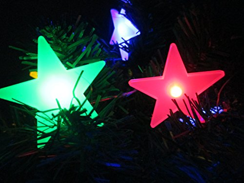 M&T TECH 20 Star LED Christmas Tree Lights Battery Operated Fairy Lights for Indoor Bedroom Party Wedding - Multi Colour