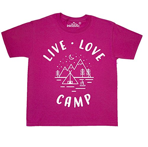 inktastic - Live Love Camp Youth T-Shirt Youth Small (6-8) Cyber Pink 3068a
