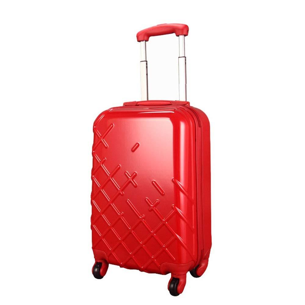 スーツケース 旅行スーツケースABSトロリーケース結婚式の赤いスーツケースユニバーサルホイールロックボックスライト搭乗 大容量旅行スーツケース (Color : Red, Size : 24inches) B07RTVD378 Red 24inches