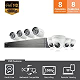 Samsung Wisenet SDH-B74081BD 8 Channel 1080p Full HD Video Security Camera System with 2 TB Hard Drive, 4 Bullet Cameras and 4 Dome Cameras