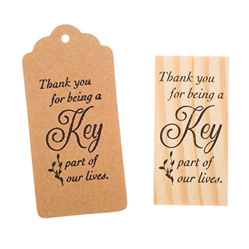 Ella Celebration Wooden Rubber Stamp for Tags, Thank You Stamps for Wedding Guest Favors (Thank You Cursive) ()