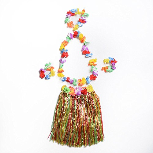 Pparty Girl's Elastic Hawaiian Hula Dancer Grass Skirt with Flower Costume Set, Multi-color (Kids Party (Hawaiian Party Dress)