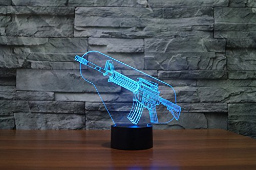 3D Led Optical Illusion 7 Colors Change Night Light Touch Button Creative Design Decorative Lighting Effect Lamp (Submachine Gun)