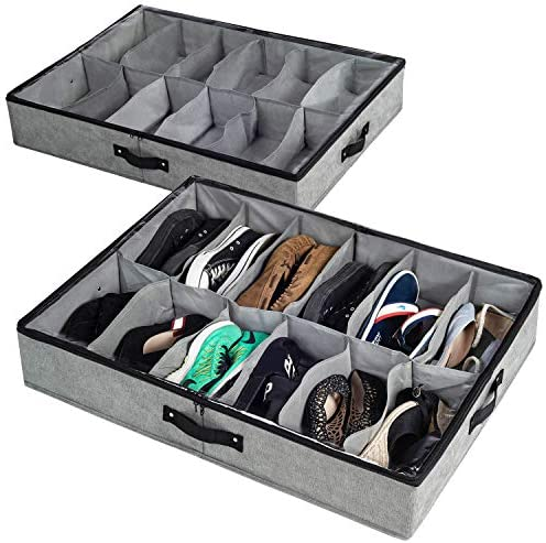 storageLAB Under Bed Shoe Storage, Shoe Organizer Under Bed with Clear Top Cover and Sturdy Sides - Set of two, Fits Up to 24 Pairs Total - Bedroom Storage and Organization