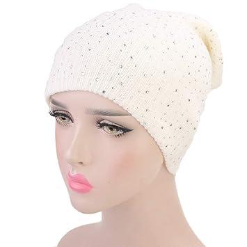 Ssowun Gorro de Lana para Mujer Diamante gypsophila Sombrero de Invierno  Tapa de Orejeras  Amazon.es  Deportes y aire libre 844060c85bf