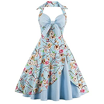 Olddnew Vintage Floral Print Halter Cocktail Dress 1950s Retro Rockabilly Swing Dresses