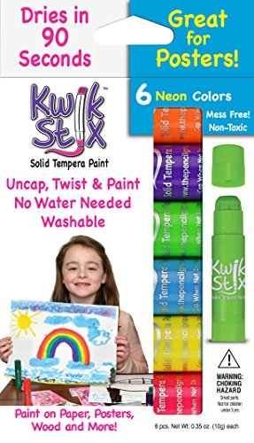 The Pencil Grip Kwik Stix NEON Solid Tempera Paint, Super Quick Drying, 6 Pack (TPG-610)