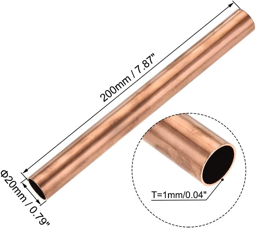 300mm Long Hollow Straight Tube 200mm Used For Cooling Water Heating Tool Generator Copper Tube-cable Switch Equipment-DIY BTCS-X 1PCS Copper Round Tube 8mm-30mm Outer Diameter 100mm
