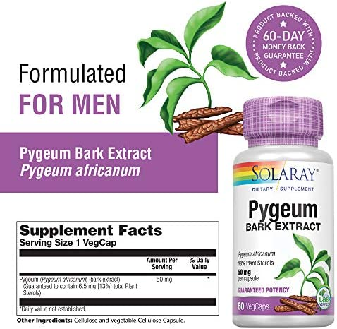 Solaray Pygeum Bark Extract 50mg Healthy Prostate Support Guaranteed to Contain 6.5mg Total Plant Sterols Non-GMO 60 VegCaps