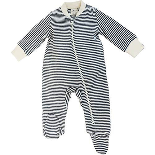 (Dordor & Gorgor Organic Zip Front Sleep 'N Play, Unisex Baby Footed Pajamas, Cotton (3-6 Month, Gray Striped 2))