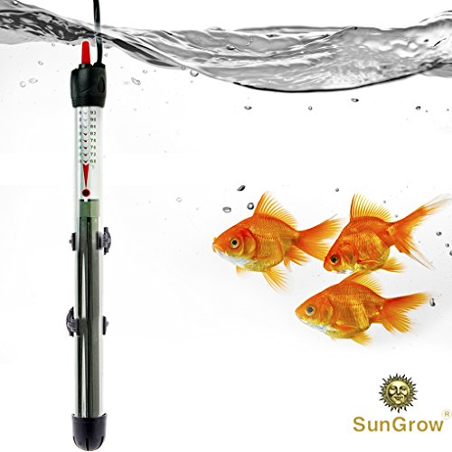 Water Heater for Fish tank - 200W Submersible Aquarium heater - Automatically Maintains Temperature - Adjustable temperature gauge - Explosion-proof Heating rod with Indicator Light by SunGrow
