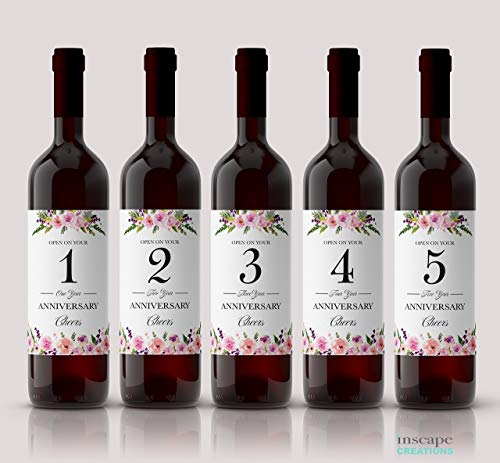 ● Wedding MILESTONES Wine Labels ● SET of 5 ● Wine Bottle Labels for Bride & Groom Gift, Engagement Bridal Shower Gifts, Guest Book, Wedding Gift Ideas, Tote Bag, Weatherproof Dreamy Rose A140-MS-5 -