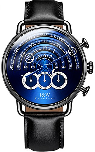 tz Chronograph Sport Watches for Men Leather Band (Blue) ()