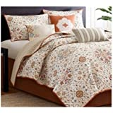 Coverlet Bed Set with a Floral Damask Print of Burnt Orange Ivory Blue Accents King or Full/queen Size (full/queen)