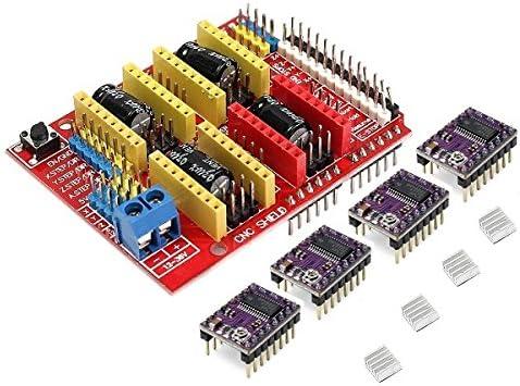 MASUNN CNC Shield + 4 X Drv8825 Driver Kit para Impresora Arduino ...